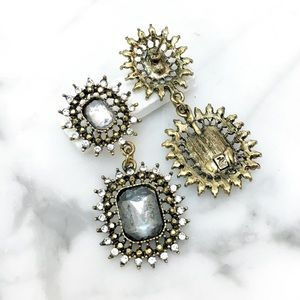 Cherryl's Jewelry - Grey Crackle Effect Resin Crystal Chandelier Earri